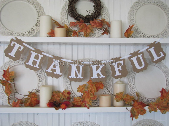 Envío libre 1 x agradecido wedding party Bunting banner decoración suministros Photo Booth Prop