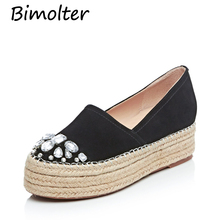 Bimolter Women Wedges Platforms Real Suede Loafers Round Toe Inside Heighten Slip-On Increased Internal Pumps Casual Shoes NB029