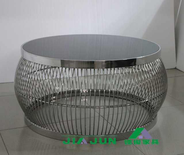 Post Modern Stainless Steel Round Coffee Table / Neoclassical Glass Coffee  Table / Coffee Table