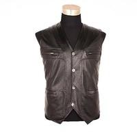 Plus Size L 4XL Mens Vest Middle aged Genuine Leather Vest Sleeveless Jacket Men Waistcoat Winter Autumn Tops Warm Coat