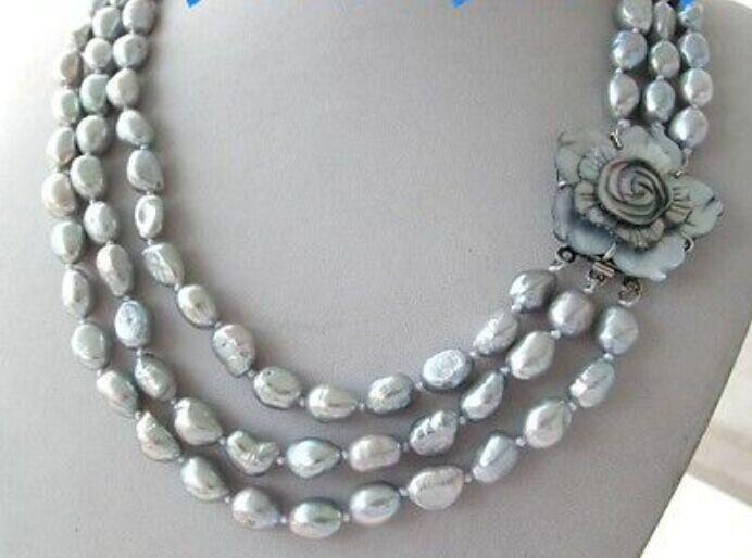 Triple brins tahitien argent gris perle collier 18-22 pouce (9.13)