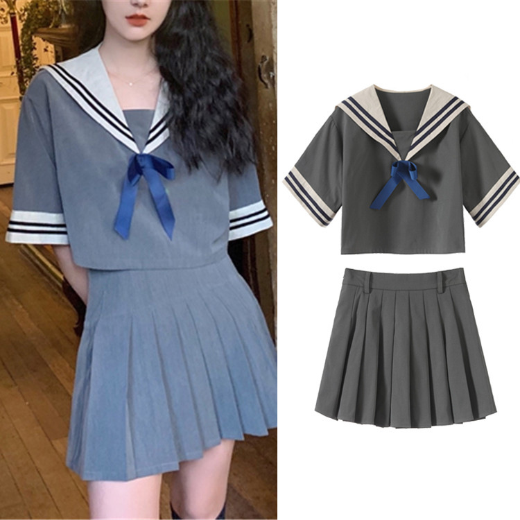 New 2019 summer wind brought navy bow choli pleated skirt of tall waist G0518 grey suit