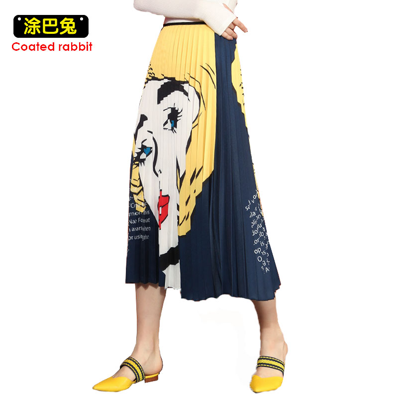 CR Top Fashion Spring Summer Women Skirts 2019 Elegant Ladies High Waist Cartoon Patterns Print Mid Calf Umbrella Pleated Skirt