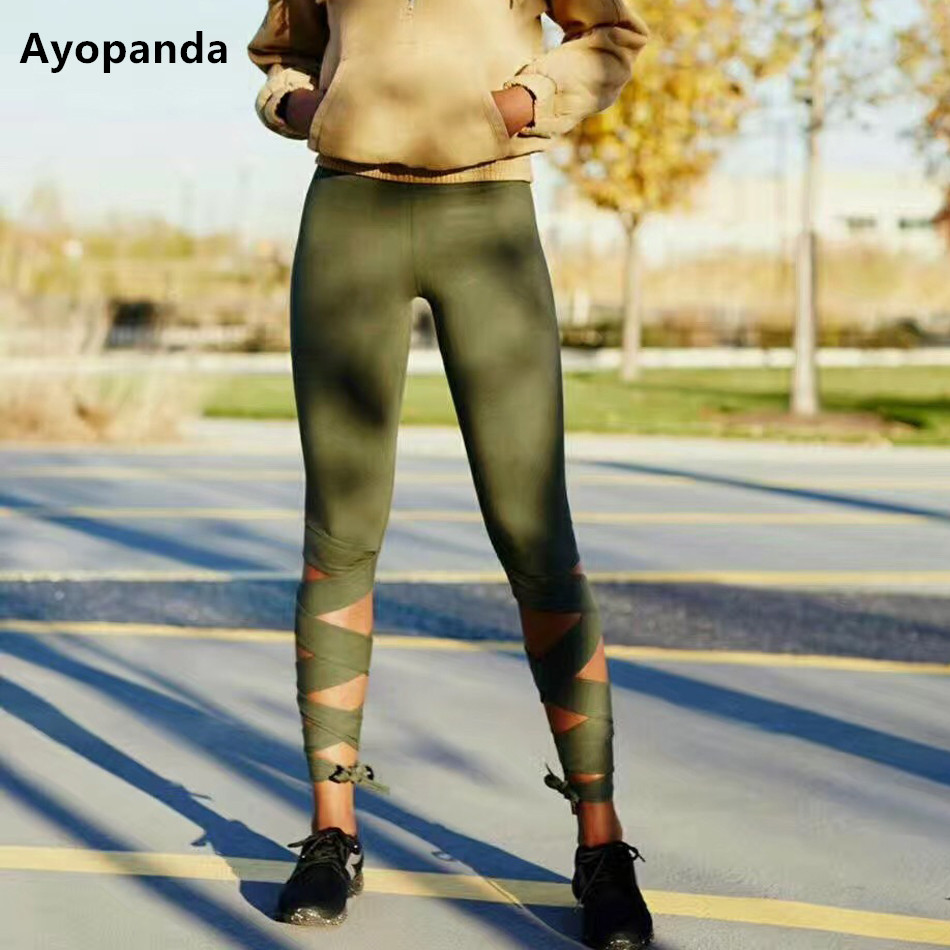 Ayopanda Women Motion Sports Legging Olive Widen Strappy Cross Yoga Pants Ultra-luxe Performance Turnout Trousers Drop Shipping