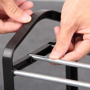 Image 4 - Basit ayakkabı rafı çelik boru plastik 3 katmanlı ayakkabı raf raf kolay monte hafif depolama organizatör standı tutucu uzay tasarrufu