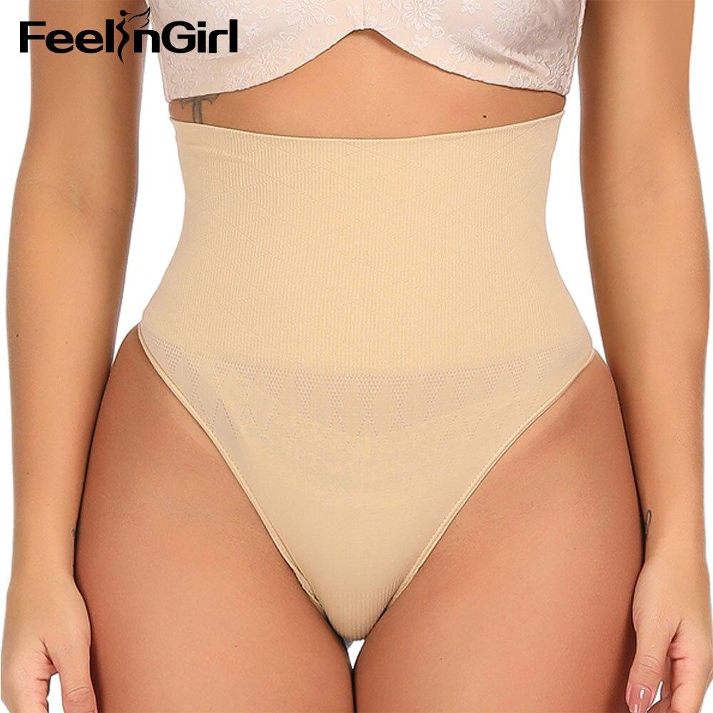 b5eec0991a FeelinGirl High Waist Trainer Tummy Control Waist Cincher Women Body Shaper  SlimmingThong G-string Butt Lifter Seamless Panties