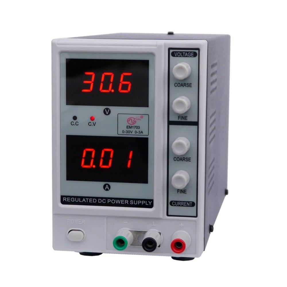 0-30 V 0-3A 3 chiffres numérique régulé DC alimentation réglable dc régulateur de tension Variable EM1703 EU/US Plug