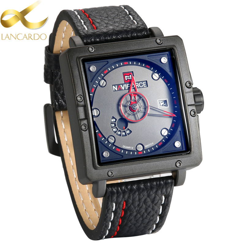 Lancardo Top Brand Square Watches Men Quartz Analog Date Clock Relogios Masculino Man Army Leather Military Sport Watch Hours dom men watch top luxury men quartz analog clock leather steel strap watches hours complete calendar relogios masculino m 11 page 6