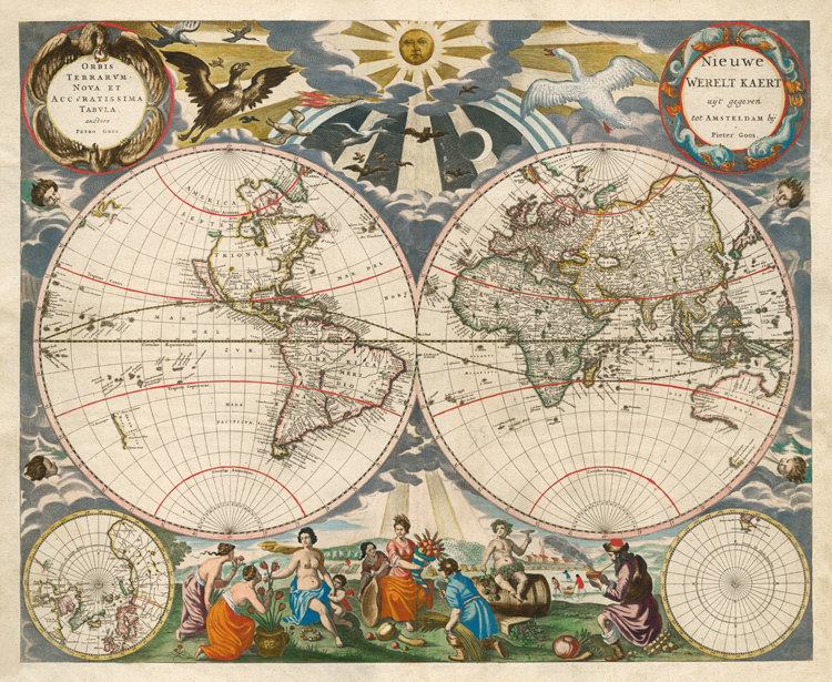 carte du monde de 1666 vintage sans cadre m r old carte amtique imit toile peintures pour la. Black Bedroom Furniture Sets. Home Design Ideas