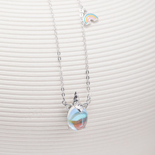 цена S925 Silver Unicorn Rainbow Pendant Necklace Crystal Hanging Necklace Female Clavicle Chain for Women Fine Jewelry онлайн в 2017 году