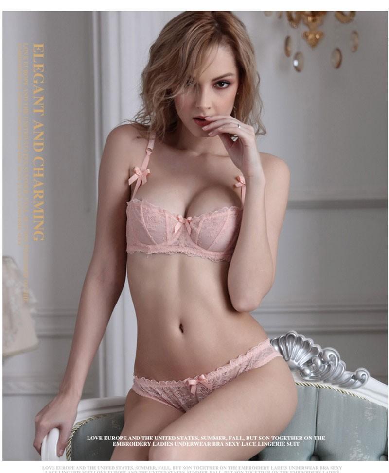 15fb949d9e4e Plus Size Women Sexy Bra Set Underwear Intimates Lace Half Cup Lingerie  Thin Temptation Black White Bra And Panty WI420