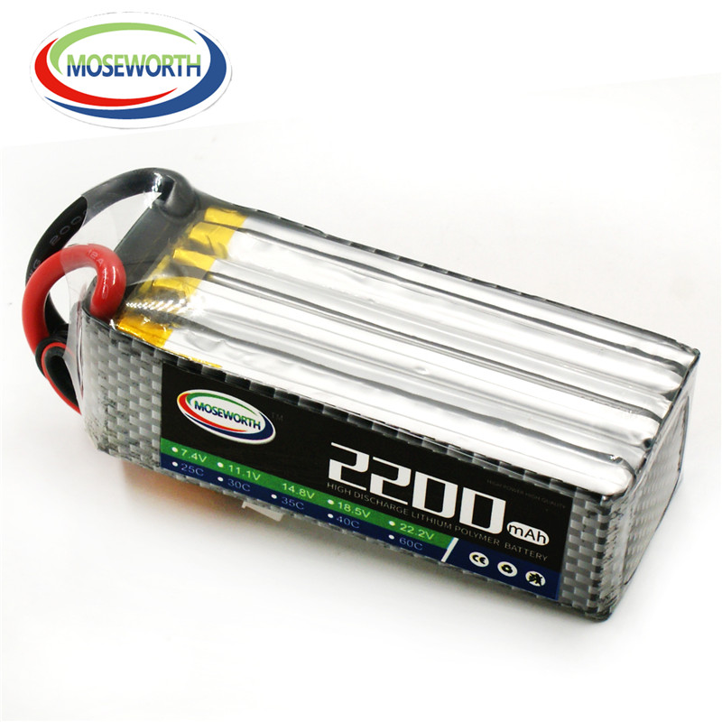 MOSEWORTH 6S RC Lipo battery 22.2v 2200mAh 60C For helicopter car boat quadcopter 6S Li-Polymer batteria 1s 2s 3s 4s 5s 6s 7s 8s lipo battery balance connector for rc model battery esc