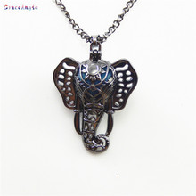 GraceAngie Antique Bronze Elephant Style Cage Locket Chain Necklace Essential Oil Silver Perfume Diffuser Jewelry Crafts Finding