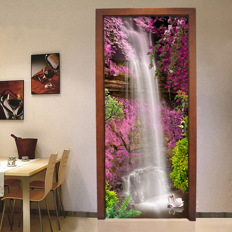 Chinese Style Classic Waterfall Landscape Mural Wallpaper Living Room Hotel Door Sticker PVC Waterproof Home Decor Vinyl Sticker