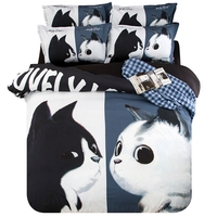 Cute Design Cat Print Bedding Set Polyester Duvet Cover Flat Bed Sheets or Fitted Sheets for Double or Single Bed