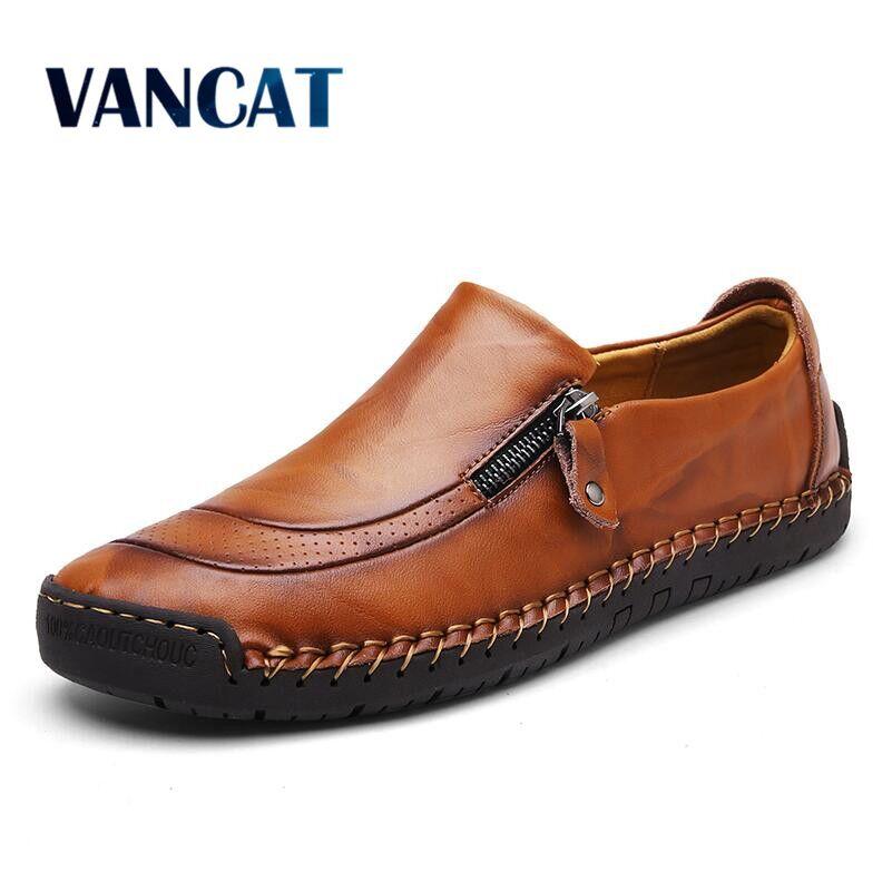 Vancat tamanho grande 38-48 marca de couro genuíno sapatos masculinos moda sapatos casuais respirável masculinos apartamentos sapatos de condução
