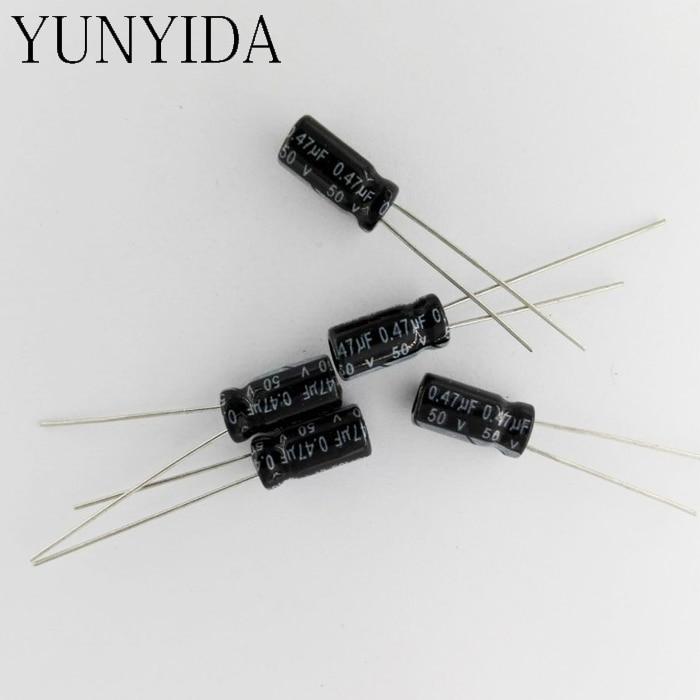 50pcs  50V 4.7uF Aluminum 4x7mm 105C Radial Electrolytic Capacitor  Black
