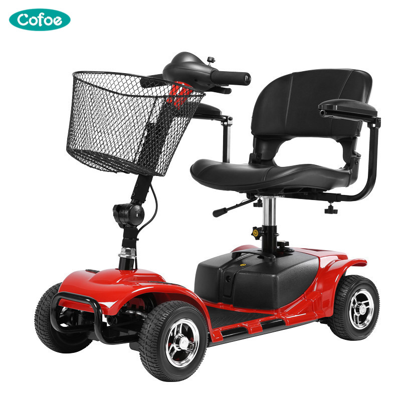 Cofoe Old People Electric Wheelchair Folding Portable Thicken Cushion Scooter Four Wheeler for the Aged the Disabled Red Blue