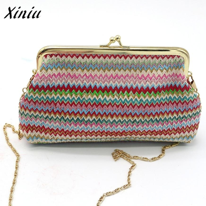 Ladies Knitting Rainbow Pattern Wallet Shoulder Bag luxury ...