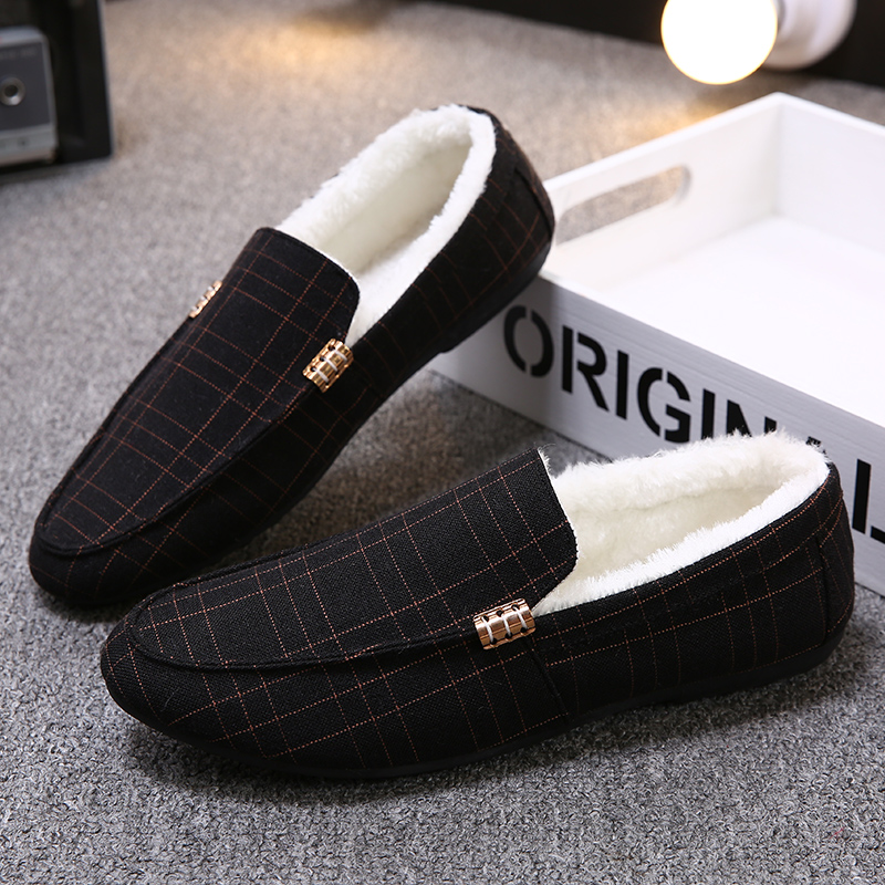 ARANSUE men flats autumn winter loafers light and comfortable driving shoes female loafers plaid winter warm shoe with plus