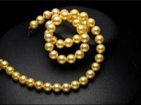 18 AAA 9 10MM SOUTH SEA GOLD PEARL NECKLACE YELLOW GOLDEN CLASP>>> women jewerly Free shipping