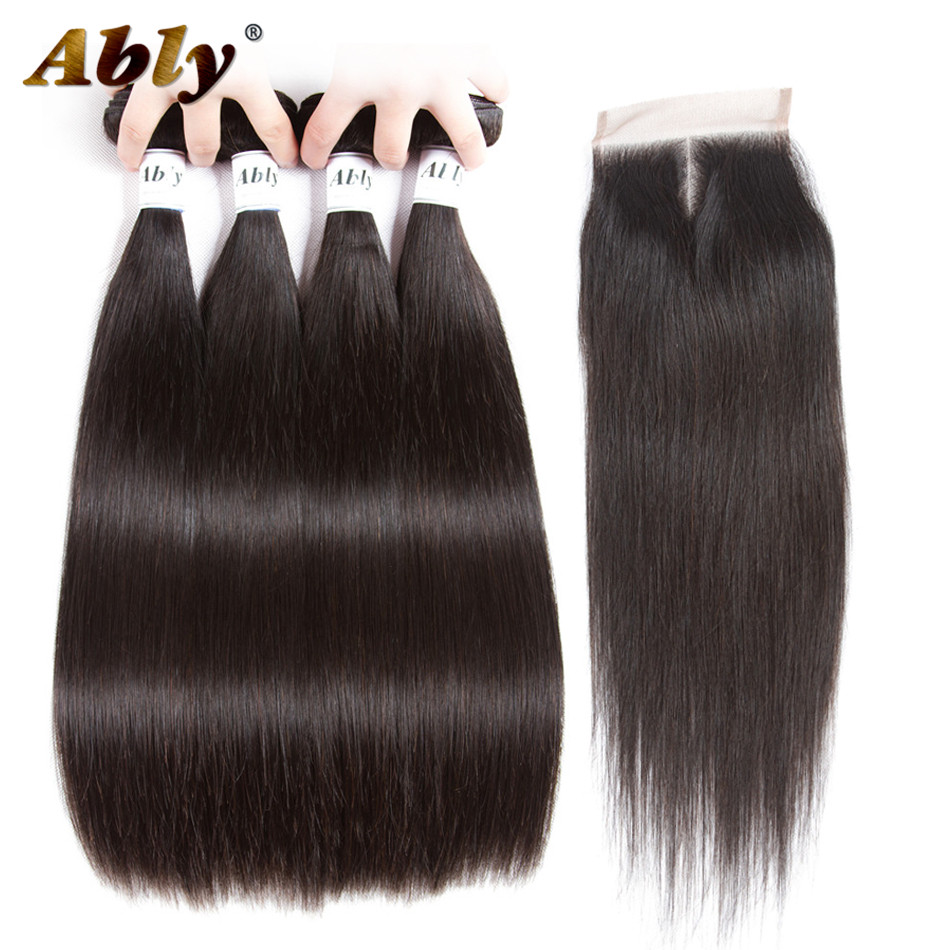 Brazilian Straight Human Hair 4 Bundles With Closure Ably 100% Raw Human Hair Weave Bundles Brazilian Virgin Hair With Closure