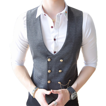 2018 slim fits fashion new men's casual boutique double-breasted business vest / Man's deep V-neck suit waistcoat