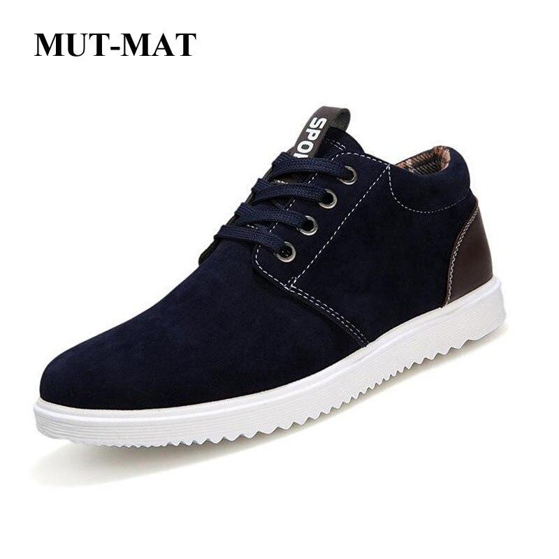 Retro   Suede     Leather   Men's Shoes Autumn British Casual Sports Sneakers Plus Velvet Men's Footwear Outdoor Sports Cotton Boots