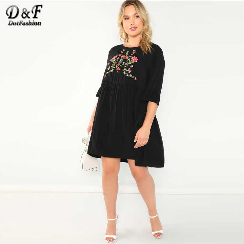 Dotfashion Plus Size Black Flower Embroidered Smock Dress Women Clothes  2019 Summer Casual A Line High Waist Knee Length Dress