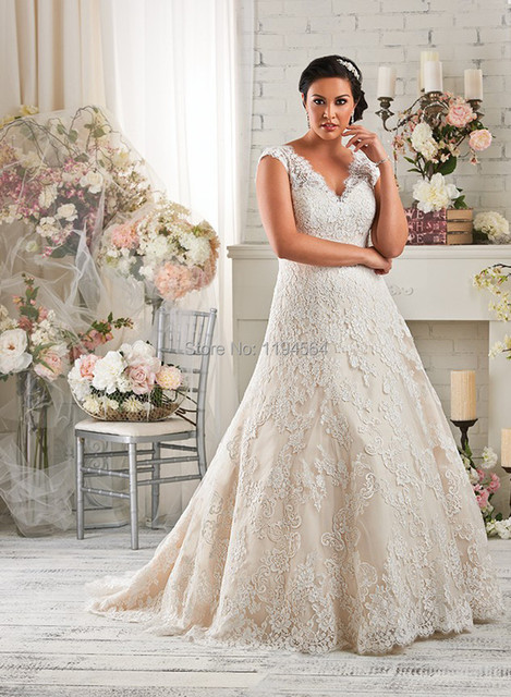 2014 Plus Size Wedding Dress Lace A Line Bridal Gown V Neck Low Back