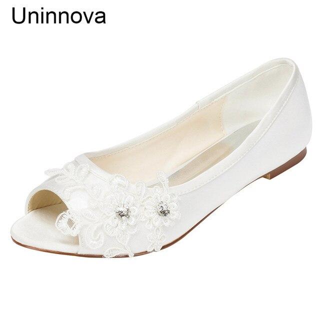 Women s Crystal Flower Flat Peep Toe Flats Wedding Shoes Ivory White  Comfortable Shoes for Bride Bridesmaids Uninnova LY331-7-2 98519e2350