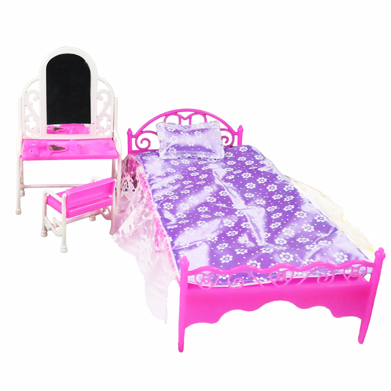 2 Items Barbie Doll Furniture(Pureple Bed + Dressing Table ) Doll Accessories For Barbie Dolls Girl Gift Kid Play House Toys barbie originais pet set dolls with girl dolls barbie dolls boneca children gift brthday gift for girls brinquedo toys djr56