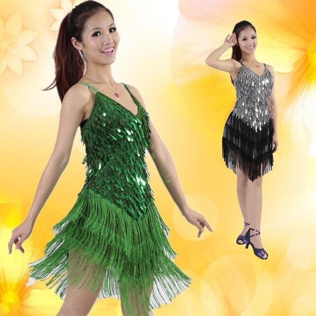 264ac2aabbfe9 Stage Performance Sequins Fringe Tassel Latin Dance Dress for Women  Competition Ballroom Salsa Samba Tango Dance Costume L037