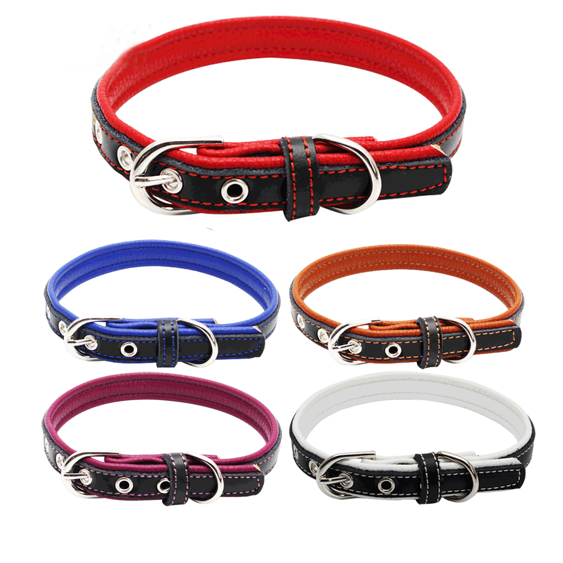 HOT Cool Rivets Studded Best Genuine Leather Pet Dog Collars For Dogs With Four Color Boxer Bulldog Pitbull XS S M L