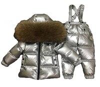 Зима серебряный комплект для маленьких мальчиков плотная одежда 90% белая утка вниз детский лыжный костюм пальто Детская парка для девочек п