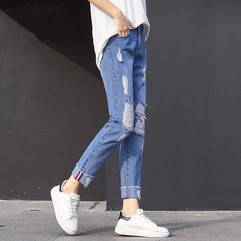 QA1247 Boyfriend cuffs hole ripped jeans for women casual loose denim cross pants female spring summer long trousers