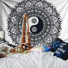 Yin Yang Mandala Tapestry Indian Wall Hanging Boho Hippie Tapestry Retro Decorative Tapestries Beach Throw Wall Rug Black/White original new mb d14 battery grip for nikon d600 d610 aa battery en el15 holder mbd14 mb d14 camera grips free shipping