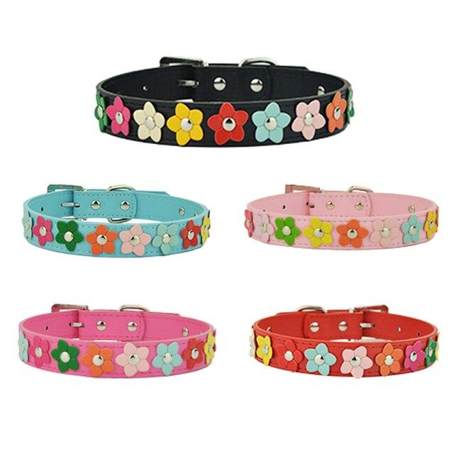 Hot Regolabile Pet Collare di Cane di Cuoio Per cani 5 di Colore Del Fiore di Su