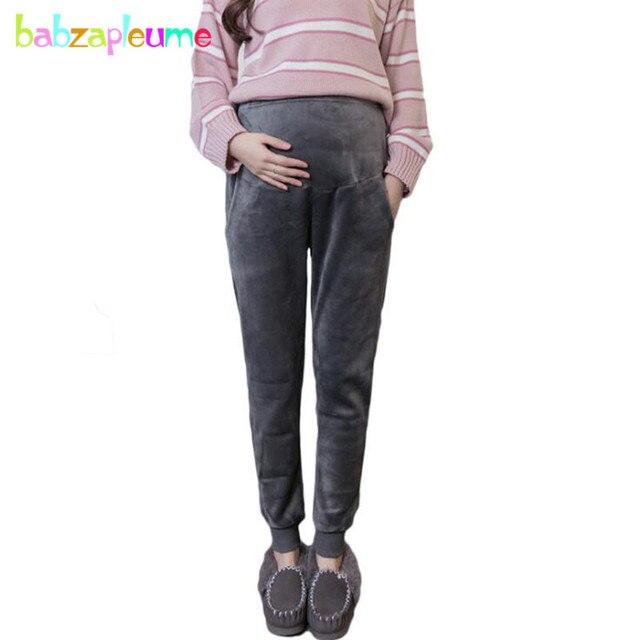 6aabbd6393dea Autumn Winter Gestante Clothing For Pregnant Women Pants Plus Size Warm  Thick Sport Pregnancy Trousers Maternity Clothes BC1110