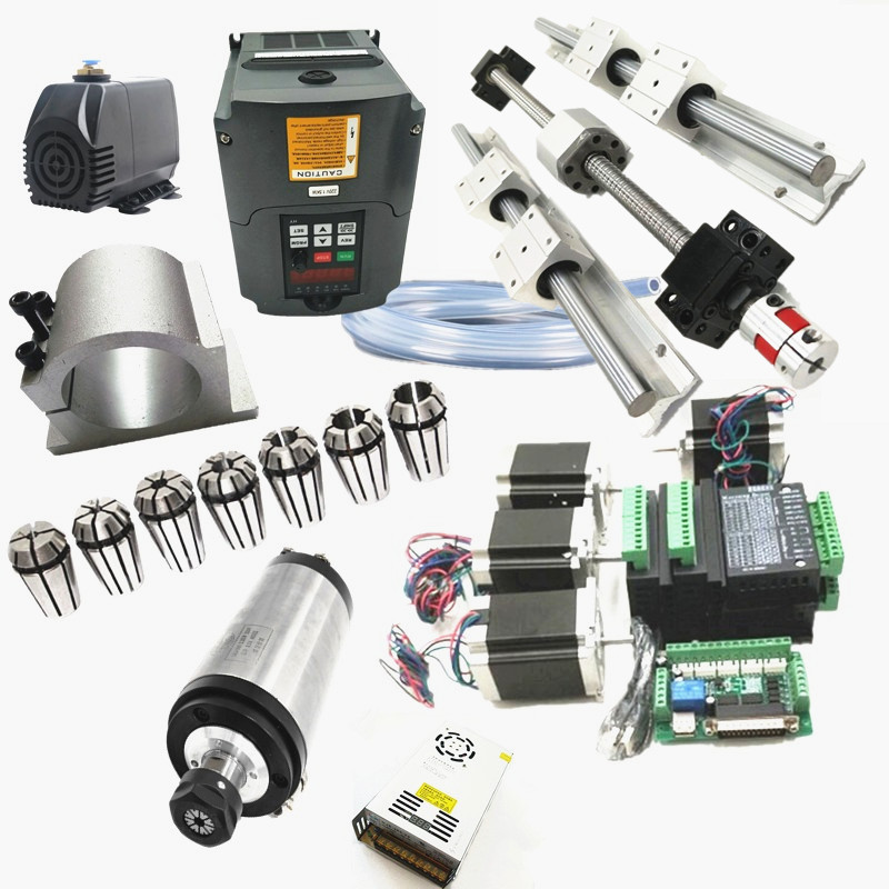 6 ensembles de rail linéaire SBR16 L300/1200/1200mm + SFU1605-300/1200/1200mm kit de CNC à vis à billes + 1.5KW ER11 kit de moteur de broche refroidi à l'eau