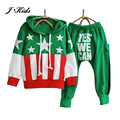 2-9 edad de la moda estrellas de la bandera suéter con capucha + pantalones harén carta conjunto de ropa para niños niñas, de color azul verde