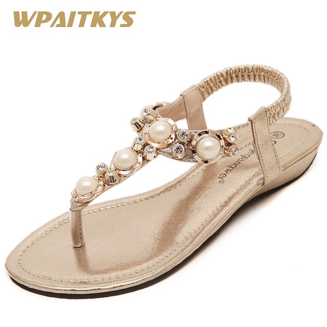 Classics Women s Sandals Gold Pink Black Silver Four Colors Available  Fashion Pearl Rhinestone Metal Decoration Sandals Women