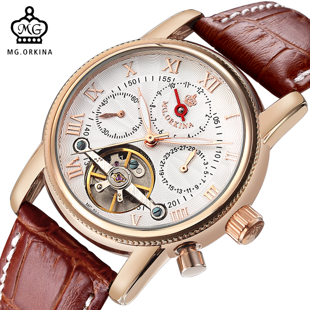 ORKINA Flying Wheel Watch Mens Automatic Mechanical Wrist Watch Casual Clock Auto Date Xfcs Leather Strap orologio da uomoORKINA Flying Wheel Watch Mens Automatic Mechanical Wrist Watch Casual Clock Auto Date Xfcs Leather Strap orologio da uomo