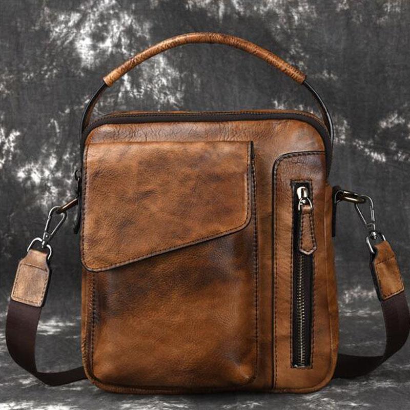 Vintage Shoulder Handbag Men Bags Genuine Leather Crossbody Bags Totes for Men Messenger Bag Men\'s Shoulder Bag Handbags