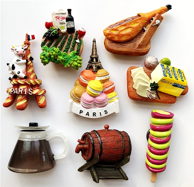 US $7 69  France Paris Cow Macaron Tower Ham Bread 3D Fridge Magnets  Tourism Souvenirs Refrigerator Magnetic Stickers Gift-in Fridge Magnets  from Home