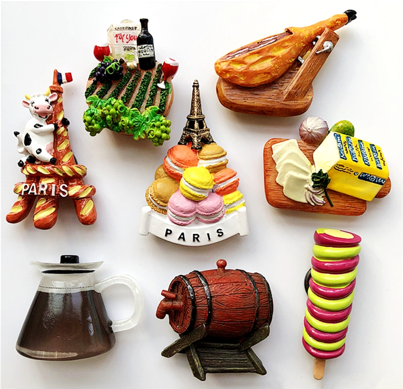France <font><b>Paris</b></font> Cow Macaron Tower Ham Bread 3D Fridge Magnets Tourism Souvenirs Refrigerator Magnetic Stickers Gift image