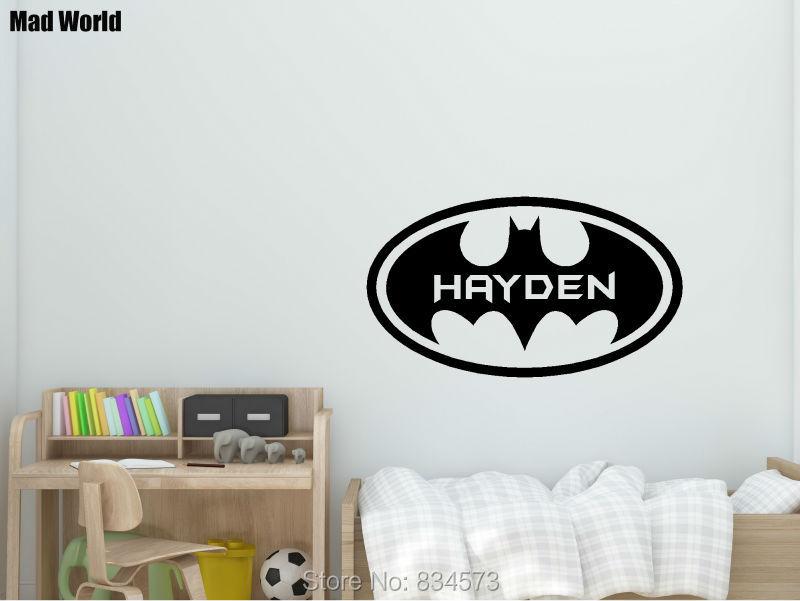 Mad world personalised name children kids wall art stickers wall decal home diy decoration removable room decor wall stickers in wall stickers from home