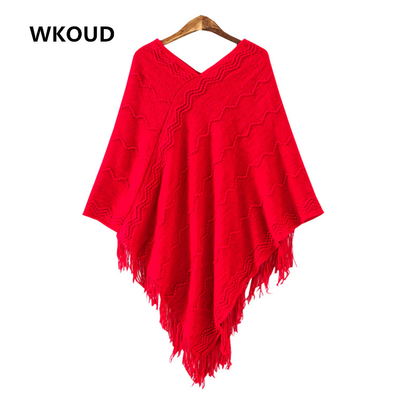 WKOUD Women Sweaters Fashion Solid Shawl Tassel Design V-Neck All Match Sleeveless Cloak Wave Pattern Patchwork Cape M8012