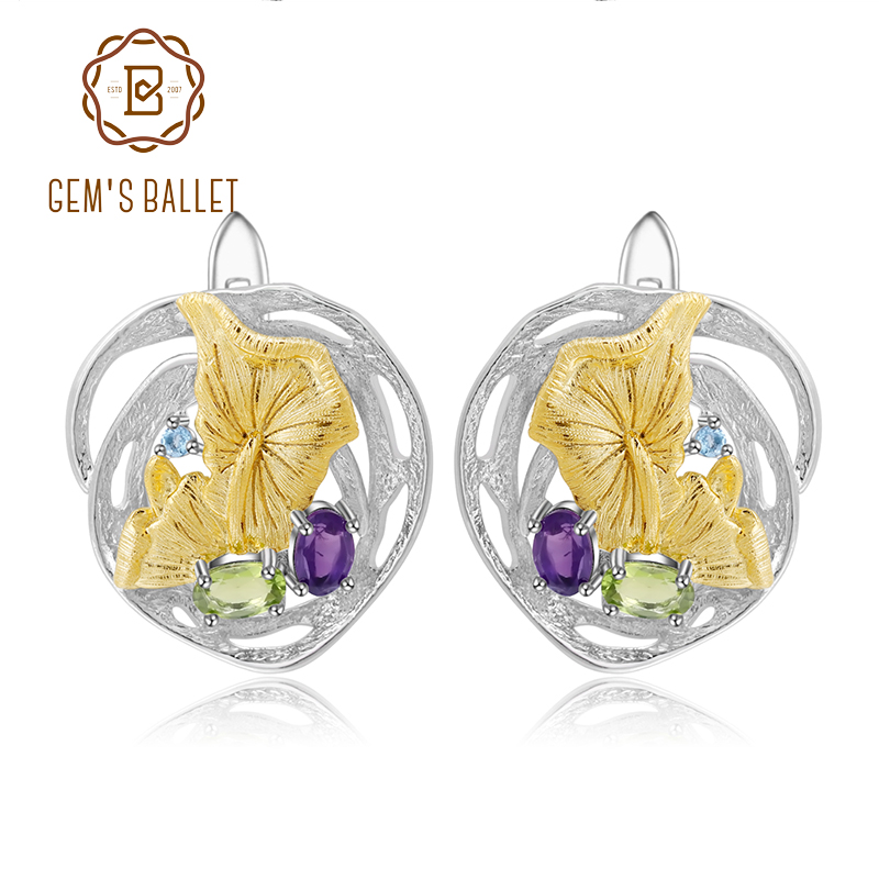 GEM S BALLET Natural Amethyst Peridot Earrings 925 Sterling Silver Handmade Lotus Pond Clip Earrings For