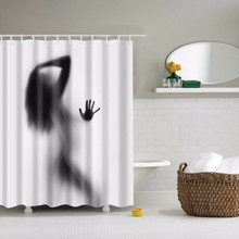 Waterproof Sexy Girl Shadow Silhouette Shower Curtain High Quality Home Bathroom Shower Curtains With 12pcs Hooks 180*180cm shadow print shower curtain with 12pcs hook